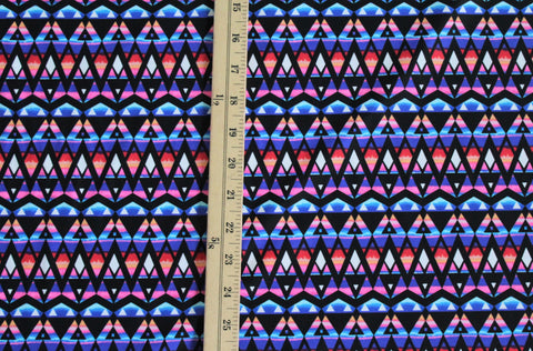 End of BOlt: 1-1/8th Yards of Abstract Geo Nylon Spandex Active Swim Knit
