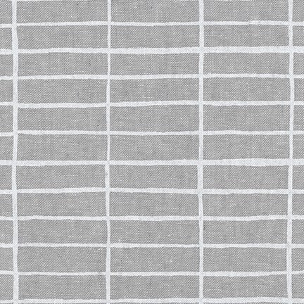 Kaufman Balboa Cotton Essex Linen Stripe Steel Woven- By the Yard