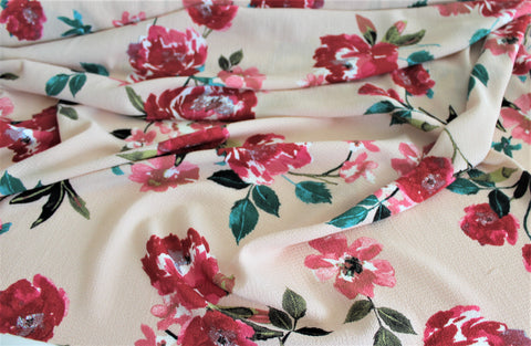 Blush Watercolor Floral Blouse Wear Crepe Woven