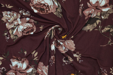 Double Brushed Malene Floral Burgundy Knit