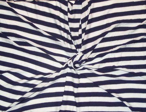 Rayon Spandex Nautical Navy And White Stripe Knit
