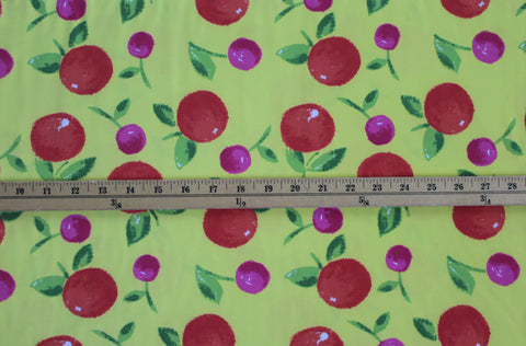 End of Bolt: 1.5 yards of Cherries Nylon Spandex Active Swim Knit