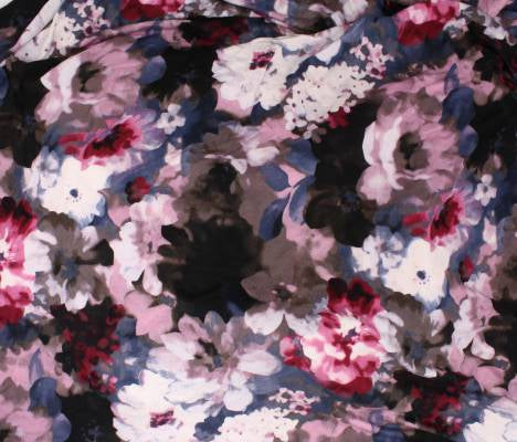 End of BOlt: 2.5 yards of Premium Rayon Spandex Denim & Rose Floral Knit