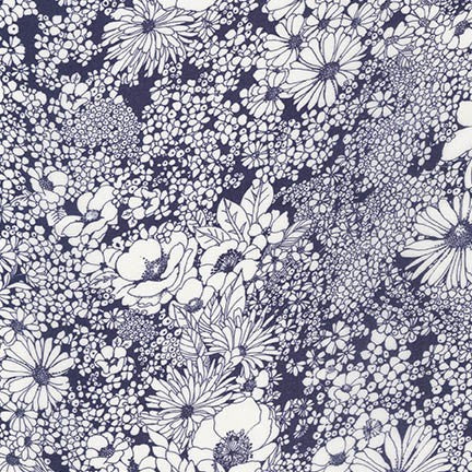 End of Bolt: 4 yards of Digital Fashion Rayon Indigo Floral Woven