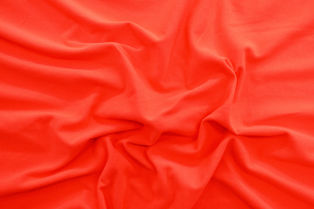End of BOlt: 4-3/8th yards of Double Brushed Neon Coral Jersey Knit Solid