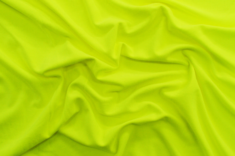 End of Bolt: 4 yards of Double Brushed Neon Yellow Jersey Knit Solid