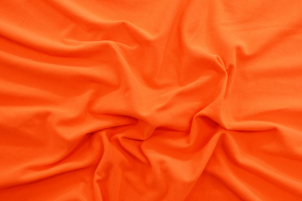 Double Brushed Neon Orange Jersey Knit Solid