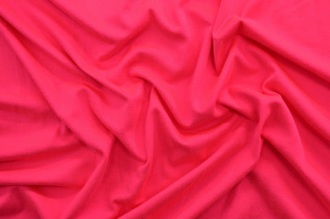 End of Bolt: 1-1/4th yards of Double Brushed Neon Hot Pink Jersey Knit Solid