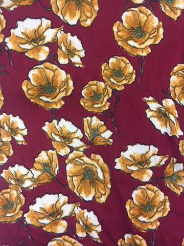 End Of Bolt: 2.5 Yards of Double Brushed Poly Spandex Mustard Floral Knit