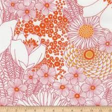 End of Bolt: 2.5 yards of Cotton Stretch Poplin Tangerine Floral Woven-Remnant