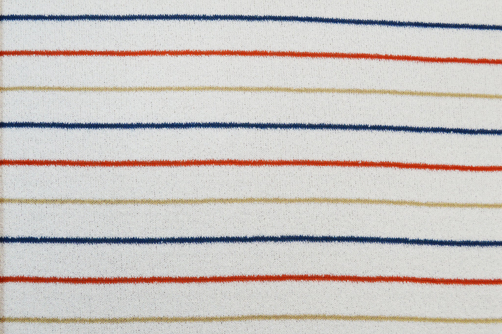 End of Bolt: 1-5/8th yards of Famous Maker Stripe Sweater Knit Ivory