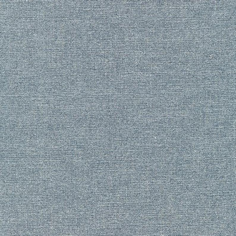 End of Bolt: 5/8th yard of Gilded Denim Metallic Silver Cotton Chambray Shirting Woven 3.9 oz