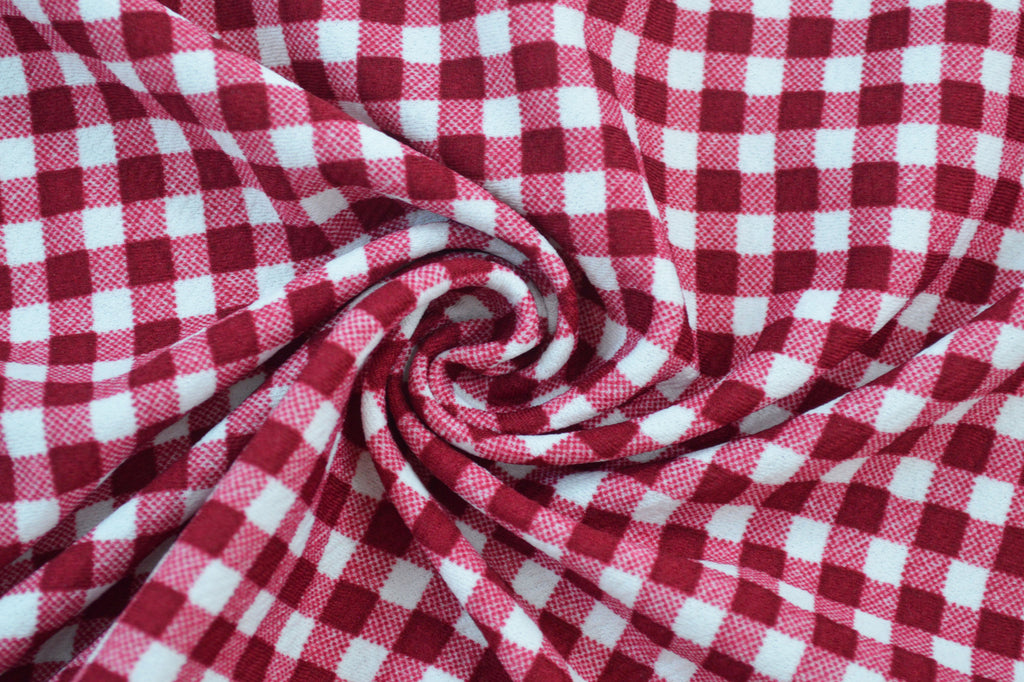 gingham liverpool fabric knits. la finch fabrics rose knits. liverpool crepe knits