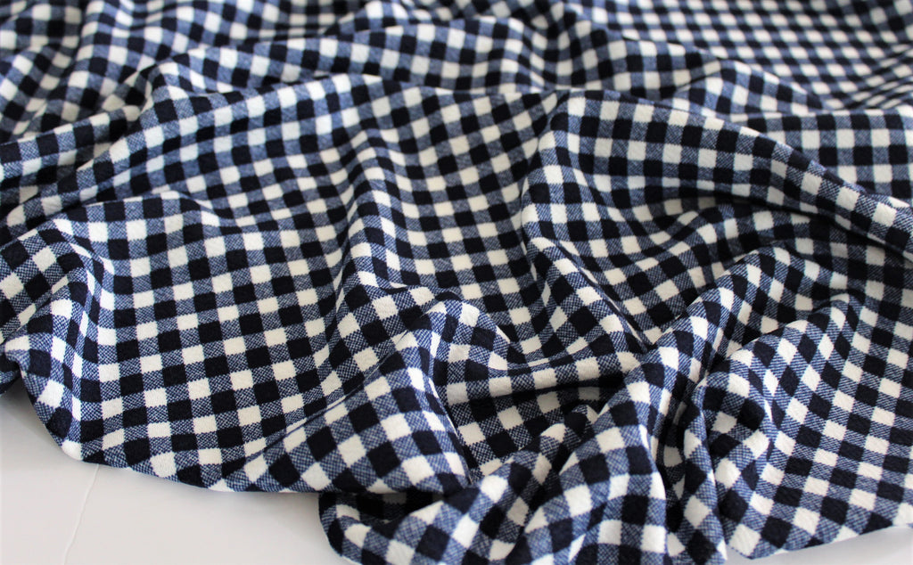 End of Bolt: 5 yards of Liverpool Gingham Navy Knit