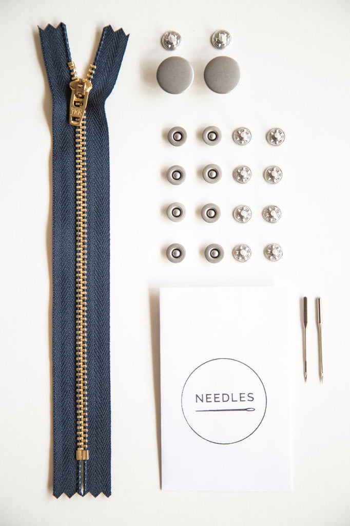 Notions by Closet Core Patterns: Zipper Fly Jeansmaking Kit- Nickel