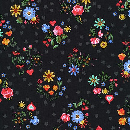 Kaufman Hidden Canyon Floral Black Cotton Spandex Knit- By the yard