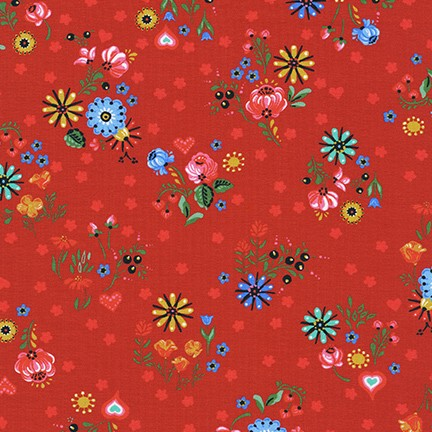 Kaufman Hidden Canyon Floral Cherry Red Cotton Spandex Knit- By the yard
