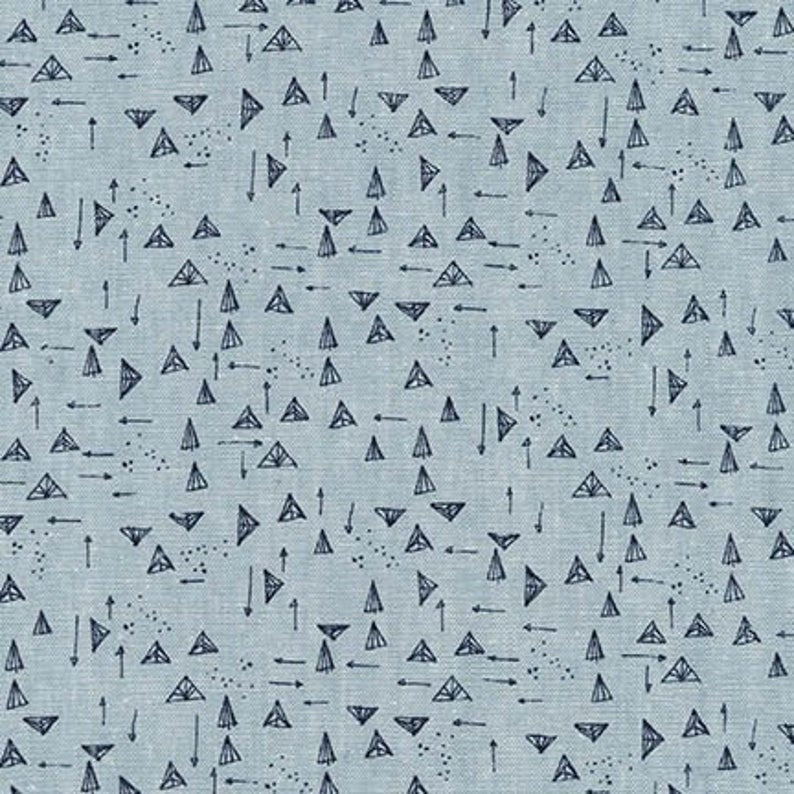 Essex Yarn Dyed Forage Triangles Chambray by Noodlehead Cotton Linen Woven