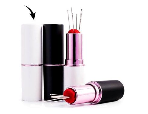 Notions: Lipstick Needle & Pin Case- White