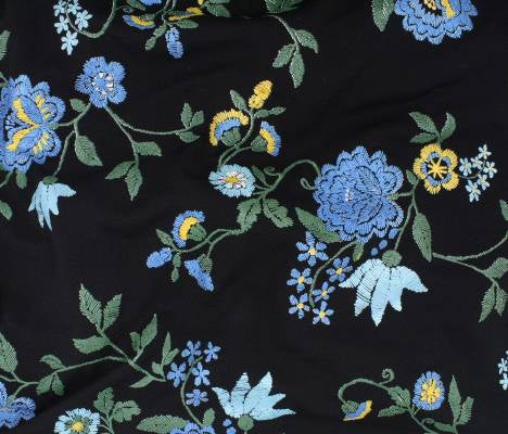 Premium Liverpool Embroidered Like Print Floral Blue Knit