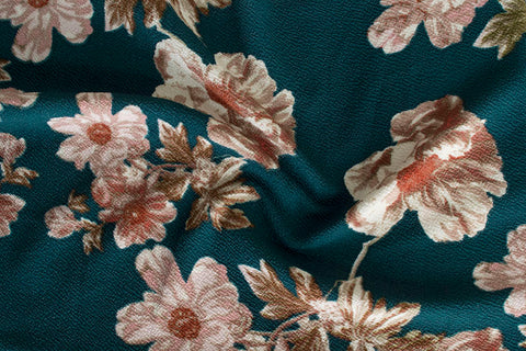 End of Bolt : 3 Yards of Wild Bloom Hunter Green Floral Liverpool Knit