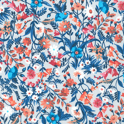 End of Bolt: 1.5 yards of Kaufman London Calling Vintage Navy Floral Lawn