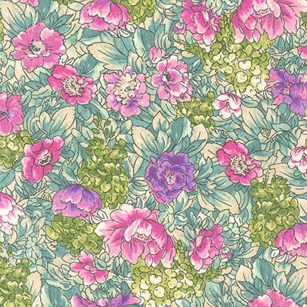 End of Bolt: 3-1/4th Yard of  Kaufman London Calling Floral Garden Lawn