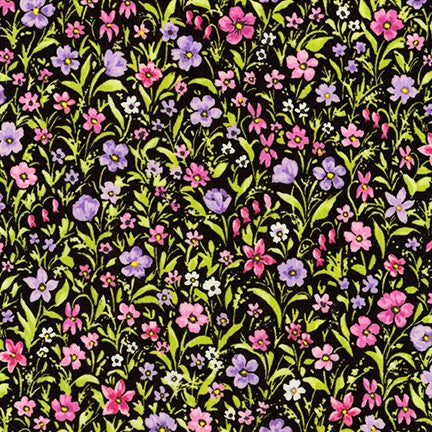 End of BOlt: 2.5 yards of Kaufman London Calling Purple Floral Cotton Lawn Woven
