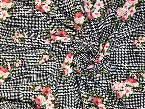 End of Bolt: 2-3/8th yards of Floral & Plaid Liverpool Knit