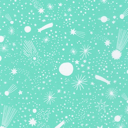 Kaufman Magical Rainbows Mint Star Doodle Woven- By the Yard