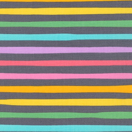 Kaufman Magical Rainbow Collection Charcoal Stripe Woven- By the Yard