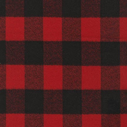 End of Bolt: 1/2 a yard of Buffalo Red and Black Mammoth Flannel Large Two Check Plaid