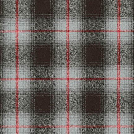 End of Bolt: 2.5 yards of  Mammoth Flannel Grey and Red Windowpane Plaid