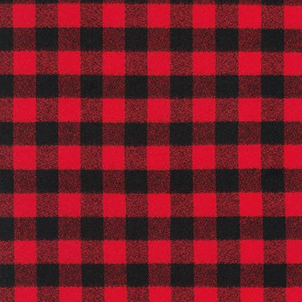 End of Bolt: 1.5 yards of Buffalo Red and Black Mammoth Flannel Small Two Check Plaid
