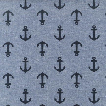 End of Bolt: 2 3/8th Yard of Anchor Nautique Blue Cotton Chambray