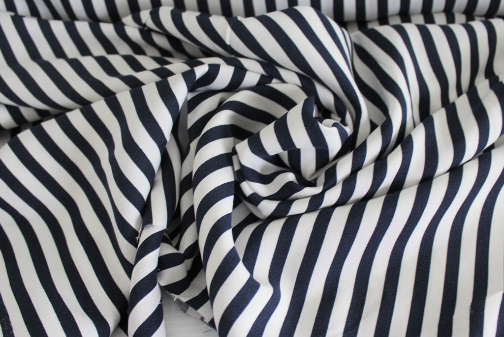 End of BOlt: 2 yards of Rayon Challis Small Stripe Navy Woven