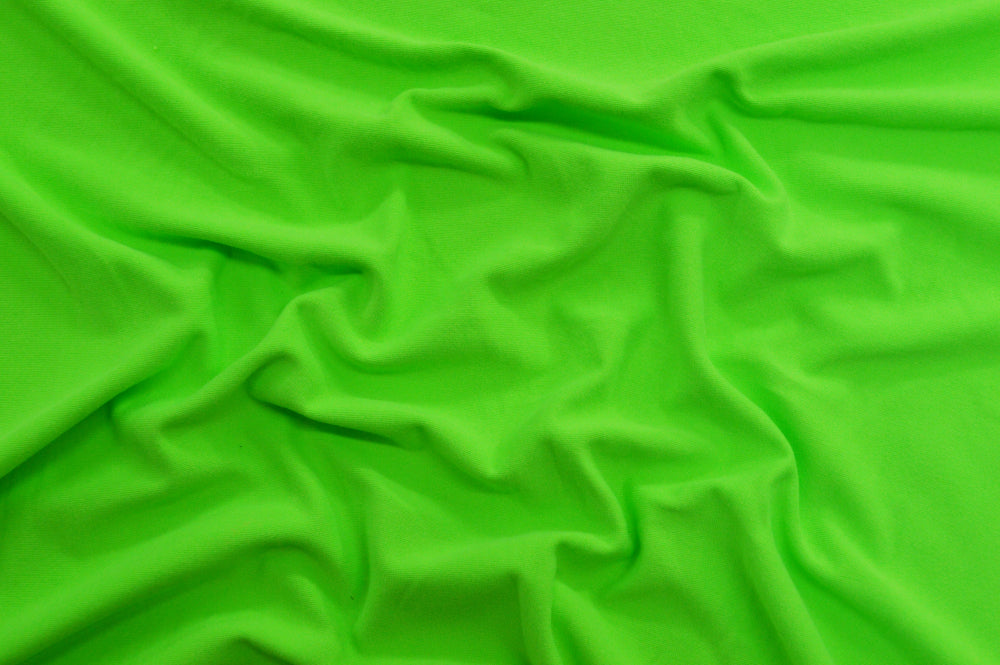 End of Bolt: 2 yards of Double Brushed Neon Green Jersey Knit Solid