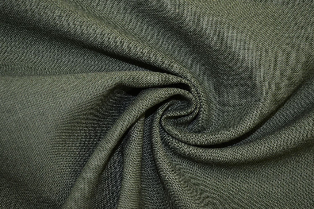 End of Bolt: 5/8th yards of Designer Rayon Linen Blend Solid Green Woven