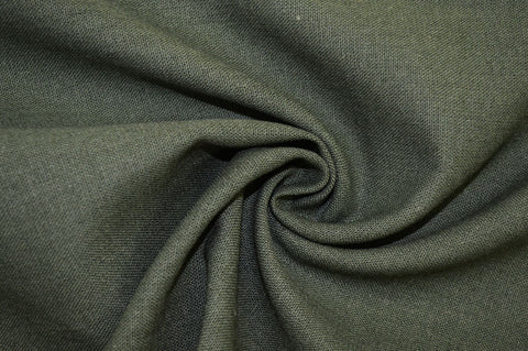 End of Bolt: 1-3/8th yards of Designer Rayon Linen Blend Solid Green Woven