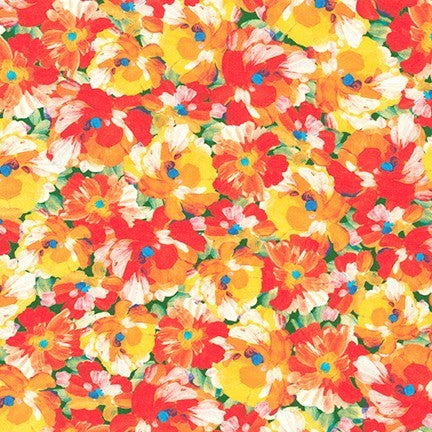 Painterly Summer Floral Petals Digitally Printed Fashion Cotton Lawn 2.89 oz- Sold by the yard