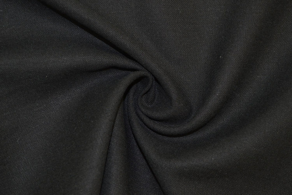 End of BOlt: 2.5 yards of  Designer Rayon Linen Blend Solid Black Woven-By the yard