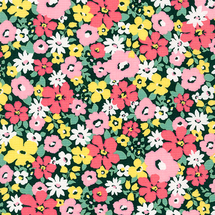 Sevenberry Flora Pink Floral 100% Cotton Woven 4.3 oz-By the yard