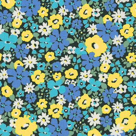 Sevenberry Flora Garden Blue Floral 100% Cotton Woven 4.3 oz-By the yard