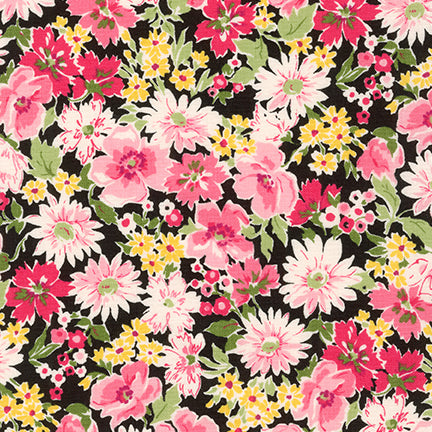 Sevenberry Flora Garden Love Pink Floral 100% Cotton Woven 4.3 oz-By the yard