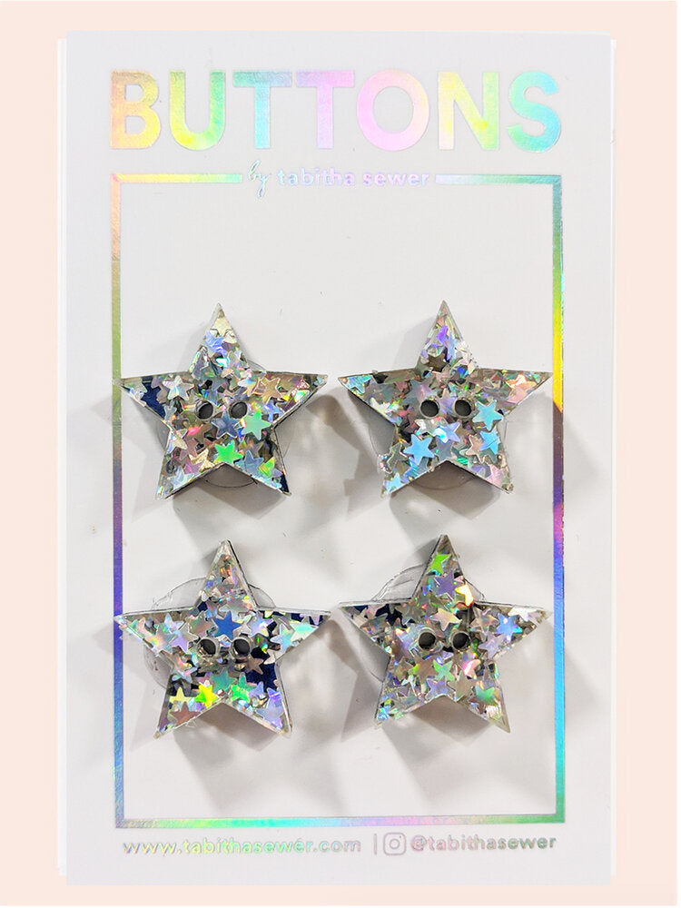 Notions: Oh My Stars! Star Buttons- Pack of 4 Buttons