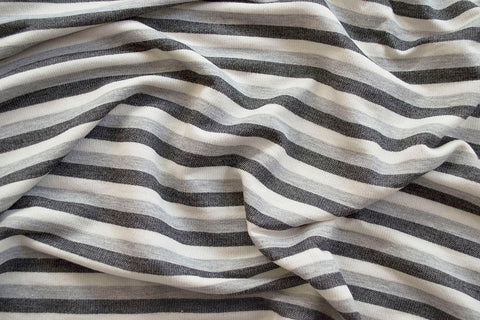 End of BOlt :2.5 yards of Designer Stripe Gray French Terry Knit