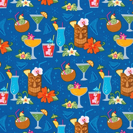 Kaufman Teal Tiki Bar Fun 100% Cotton Woven 4.3 oz-by the yard