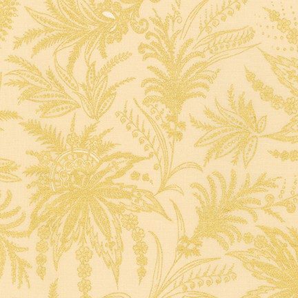 Kaufman Treasures of Alexandria Gilded Grasses Ivory Gold Metallic 100% Cotton Woven- By the yard