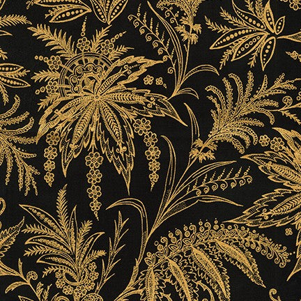 Kaufman Treasures of Alexandria Gilded Grasses Onyx Gold Metallic 100% Cotton Woven- By the yard