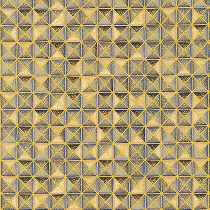 Kaufman Treasures of Alexandria Onyx Weathered Squares with Metallic Gold Accents 100% Cotton- By the yard